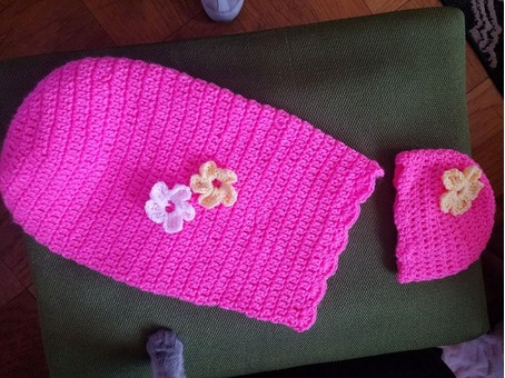 Crocheted Bunting and Cap Set